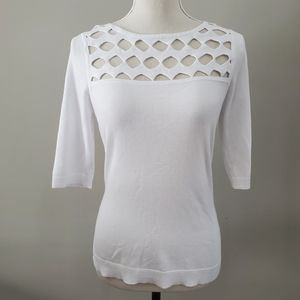 MILLY Open Yoke Fitted Top in White